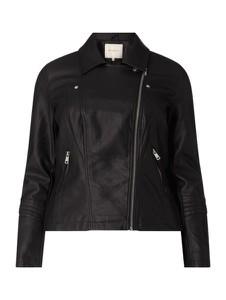Czarna kurtka ONLY Carmakoma krótka w rockowym stylu