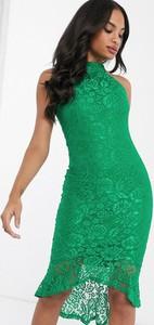 Zielona sukienka Ax Paris baskinka
