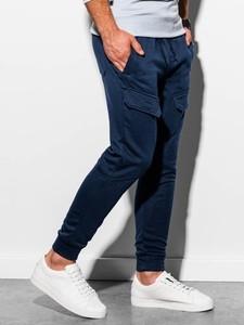 Granatowe spodnie sportowe Ombre z dresówki