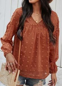 Brązowa bluzka Sandbella w stylu casual