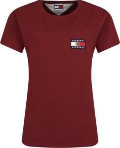 Czerwony t-shirt Tommy Jeans z krótkim rękawem w stylu casual