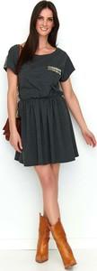 Czarna sukienka Makadamia w stylu boho z krótkim rękawem mini