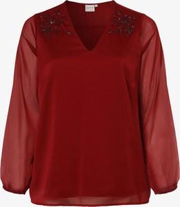 Czerwona bluzka Junarose z szyfonu z długim rękawem