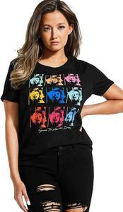 Czarny t-shirt Guess z krótkim rękawem w młodzieżowym stylu