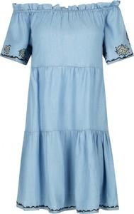 Niebieska sukienka Pepe Jeans z krótkim rękawem mini