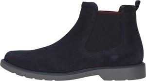 Granatowe buty zimowe Geox ze skóry