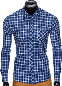Niebieska koszula Ombre Clothing z bawełny z długim rękawem