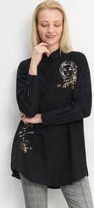 Czarna koszula Mohito z nadrukiem z długim rękawem