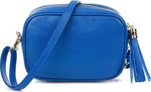 Niebieska torebka producent niezdefiniowany matowa mała ze skóry