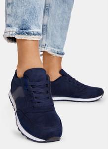 Granatowe buty sportowe DeeZee z płaską podeszwą