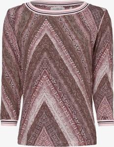 Różowa bluzka Rich & Royal z okrągłym dekoltem z długim rękawem w street stylu