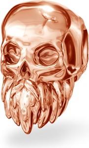 GIORRE Srebrny koralik zawieszka charms CZASZKA z brodą srebro 925 : Kolor pokrycia srebra - Pokrycie Różowym 18K Złotem