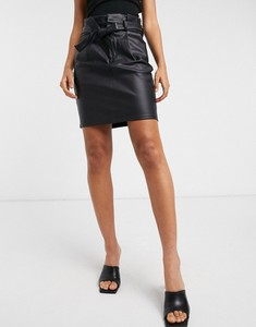 Czarna spódnica Vero Moda mini ze skóry