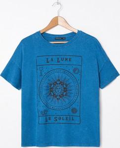 Granatowy t-shirt House z okrągłym dekoltem