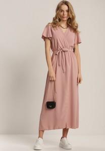 Różowa sukienka Renee z krótkim rękawem z dekoltem w kształcie litery v maxi