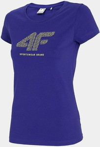 Niebieski t-shirt 4F z okrągłym dekoltem z krótkim rękawem w sportowym stylu