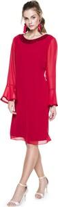 Sukienka L'AF z długim rękawem z szyfonu z okrągłym dekoltem