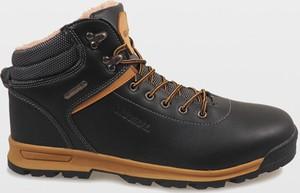 Czarne buty zimowe Gemre w sportowym stylu sznurowane