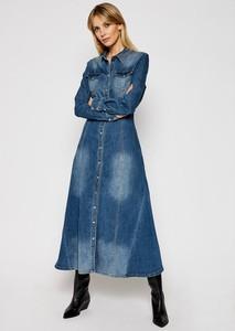 Niebieska sukienka My Twin z jeansu maxi