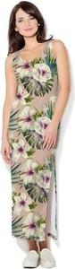 Sukienka COLOUR PLEASURE dopasowana z dzianiny z okrągłym dekoltem