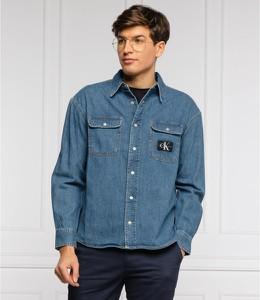 Niebieska koszula Calvin Klein z klasycznym kołnierzykiem z długim rękawem