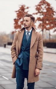 Brązowy płaszcz męski 4 Gentleman z wełny