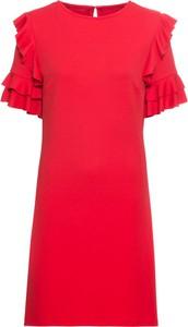 Czerwona sukienka bonprix BODYFLIRT z okrągłym dekoltem midi z krótkim rękawem