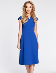 Niebieska sukienka MOE z dekoltem w kształcie litery v