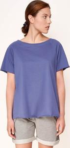 Niebieski t-shirt Byinsomnia z okrągłym dekoltem z krótkim rękawem w stylu casual