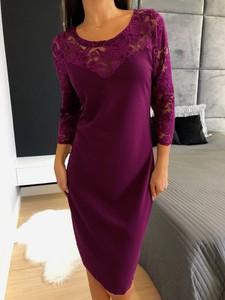 Fioletowa sukienka ModnaKiecka.pl z długim rękawem mini