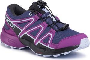 Fioletowe buty sportowe dziecięce Salomon sznurowane