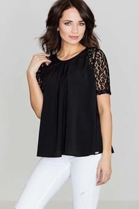 Czarna bluzka Katrus z krótkim rękawem