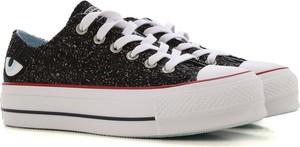 Czarne trampki Converse na obcasie w stylu casual sznurowane