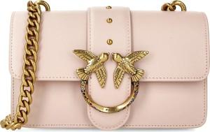 Różowa torebka Pinko na ramię ze skóry