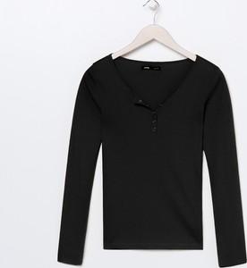 Czarna bluzka Sinsay z długim rękawem z bawełny