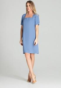 Niebieska sukienka Figl z krótkim rękawem