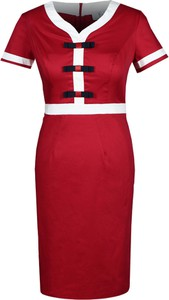 Czerwona sukienka Fokus dopasowana z dekoltem w kształcie litery v z krótkim rękawem