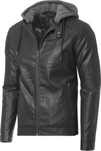 Czarna kurtka Risardi ze skóry w stylu casual