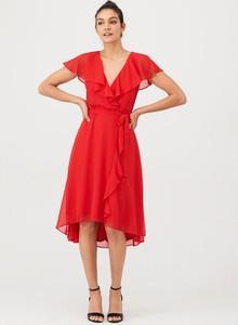 Czerwona sukienka V by Very z krótkim rękawem midi z szyfonu