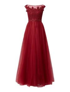 Czerwona sukienka Luxuar z dekoltem w kształcie litery v bez rękawów z szyfonu
