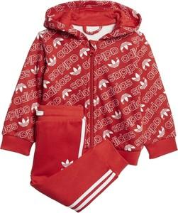Czerwony dres dziecięcy Adidas Originals dla chłopców z dzianiny