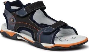 Granatowe buty dziecięce letnie Lasocki Young ze skóry na rzepy dla chłopców