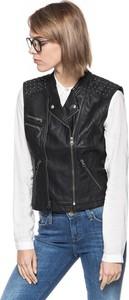 Czarny płaszcz Tom Tailor ze skóry ekologicznej