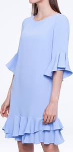 Niebieska sukienka L'AF z okrągłym dekoltem mini z długim rękawem