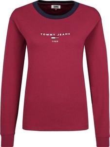 Czerwona bluzka Tommy Jeans z długim rękawem