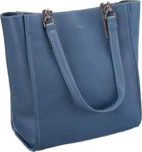 Niebieska torebka David Jones ze skóry ekologicznej matowa na ramię