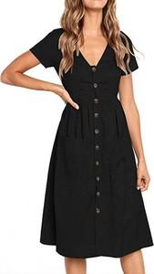 Czarna sukienka Arilook szmizjerka z krótkim rękawem midi