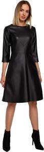 Sukienka MOE ze skóry ekologicznej z długim rękawem