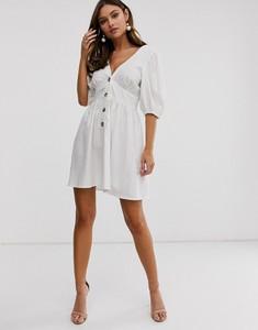 Sukienka Asos Design mini z lnu z dekoltem w kształcie litery v