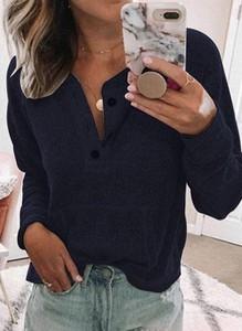 Bluzka Cikelly z dekoltem w kształcie litery v z długim rękawem w stylu casual